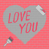 Love you text and heart illustration Royalty Free Stock Photos