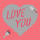 Love you text and heart illustration Stock Images
