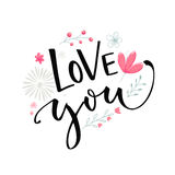 Love you text with pink flowers and branches. Valentine`s day card vector design with modern calligraphy.  Stock Image