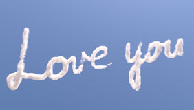 Love you text in sky Stock Image
