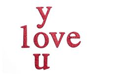 Love You Text White Background Royalty Free Stock Photos