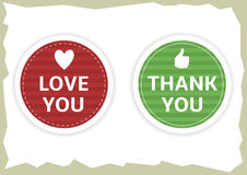 Love you and thank you stickers. Love you and thank you paper sticker set. Vector illustration Royalty Free Stock Photography
