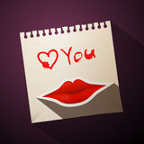 Love You Title with Vector Heart and Mouth Royalty Free Stock Image