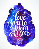 Love you to the moon and back. Beautiful card with a declaration of love and astronauts. hand-drawn illustration Stock Images