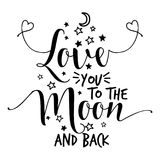 Love you to the moon and back. Lovely Concept with lovely hearts. Good for scrap booking, posters, textiles, gifts, wedding sets stock illustration