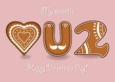 Love you too. Gingerbreads letters and heart stock images