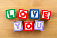Love you toy block Royalty Free Stock Images