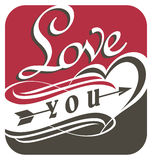 Love you, unique typography design Royalty Free Stock Photos