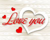Love you. Valentine`s Day card. Vector Hearts on Wooden background Stock Image