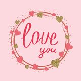 Love you. Valentine`s day greeting card set. Design for wedding. Gold and pink colors. Glitter texture. Hand drawn heart. February 14 royalty free illustration