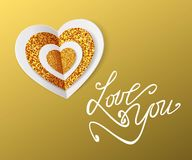 LOVE YOU -  Valentine's Day Greeting card. White and gold paper heart. Vector illustration. Royalty Free Stock Photo