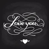 Love You vector card. Happy Valentine's Day vector card with lettering Royalty Free Stock Photography