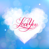 Love You vector card. Happy Valentine's Day vector card with lettering Stock Photo
