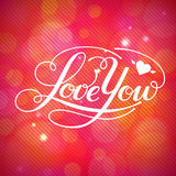 Love You vector card. Happy Valentine's Day vector card with lettering Stock Photos