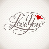 Love You vector card. Happy Valentine's Day vector card with lettering Royalty Free Stock Photo
