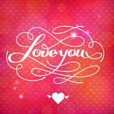 Love You vector card. Happy Valentine's Day vector card with lettering Royalty Free Stock Images