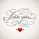 Love You vector card. Happy Valentine's Day vector card with lettering Royalty Free Stock Photos