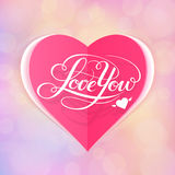 Love You vector card. Happy Valentine's Day vector card with lettering Royalty Free Stock Image