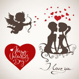 Love You vector set. Happy Valentine's Day vector set with lettering Royalty Free Stock Photography