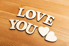 Love You wooden letters Royalty Free Stock Photo