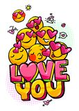 Love you word bubble. Message in pop art comic style with hand drawn hearts and emoji smiles royalty free illustration