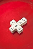 Love you written on wooden dice Royalty Free Stock Images