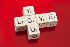 Love you written on wooden dice Stock Image