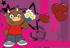Love Young Bull Kid Cartoon Background Royalty Free Stock Images