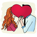 Love. Young couple kissing behind pralines heart on valentines day stock illustration