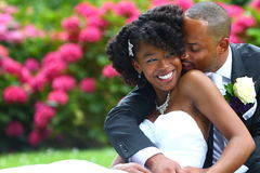 Love. Young couple in love on their wedding day Royalty Free Stock Image