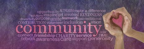 Love Your Community Spirit Word Cloud Royalty Free Stock Images