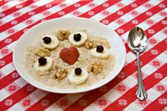 Love your Heart. A health concept - morning meal - heart healthy oatmeal with fruit Stock Images