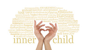 Love your Inner Child. Female hands making a heart shape with little fingers surrounded by an INNER CHILD word cloud isolated on a white background Royalty Free Stock Photo