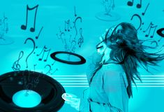 Love your music - cyan Royalty Free Stock Photo