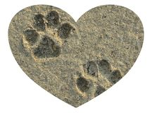 Love your pet forever paw prints in the sand inside a heart on isolated white background. Love your pet forever paw prints in the sand inside a heart memories on royalty free stock photo