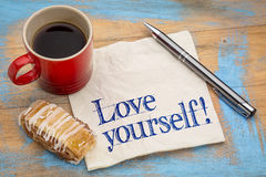 Love yourself advice on napkin Royalty Free Stock Image