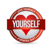 Love Yourself badge illustration. Design over white Royalty Free Stock Photography