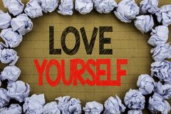 Love Yourself. Business concept for Positive Slogan For You written on vintage background with copy space on old background with f. Love Yourself. Business royalty free stock photo