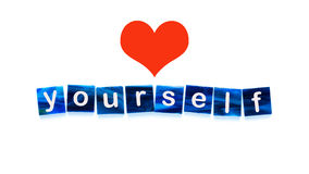 Love yourself. Mosaic tiles and a heart in front of white background - Love yourself Stock Image