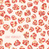 'Love yourself!' selfish postcard. Valentine's Day Royalty Free Stock Images