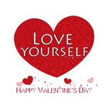 ``Love yourself`` text. Red shining sparkle heart. Happy Valentine`s day greeting card. Background royalty free illustration