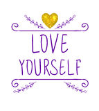 LOVE YOURSELF. VECTOR handwritten letters and doodle frame with glitter gold heart. Purple words Royalty Free Stock Images