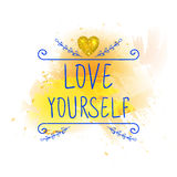 LOVE YOURSELF. VECTOR handwritten letters with glitter gold heart. Blue words on yellow paint splash. Stock Photography