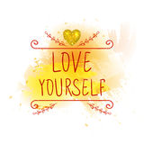 LOVE YOURSELF. VECTOR handwritten letters with glitter gold heart. Red words on yellow paint splash. Royalty Free Stock Image