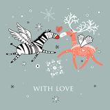 Love the zebra and deer Royalty Free Stock Image