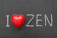 Love zen. I love Zen phrase handwritten on chalkboard with heart symbol instead of O Royalty Free Stock Image