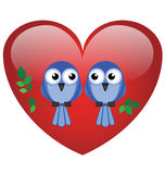 Lovebirds. Two valentine lovebirds sat on a branch Stock Photography