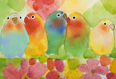 Lovebirds. Five colored birds on a tree