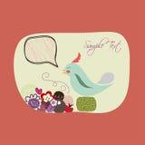 Lovebirds-Blumenkarten-Schablone. Lizenzfreie Stockfotos