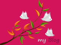 Lovebirds Character. Flying togetherness around twig, cartoon Illustration Royalty Free Stock Photography